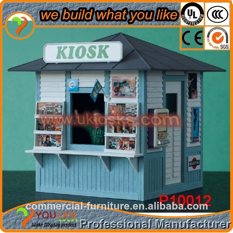 Mall newspaper kiosk high level wooden kiosk eco-friendly materials