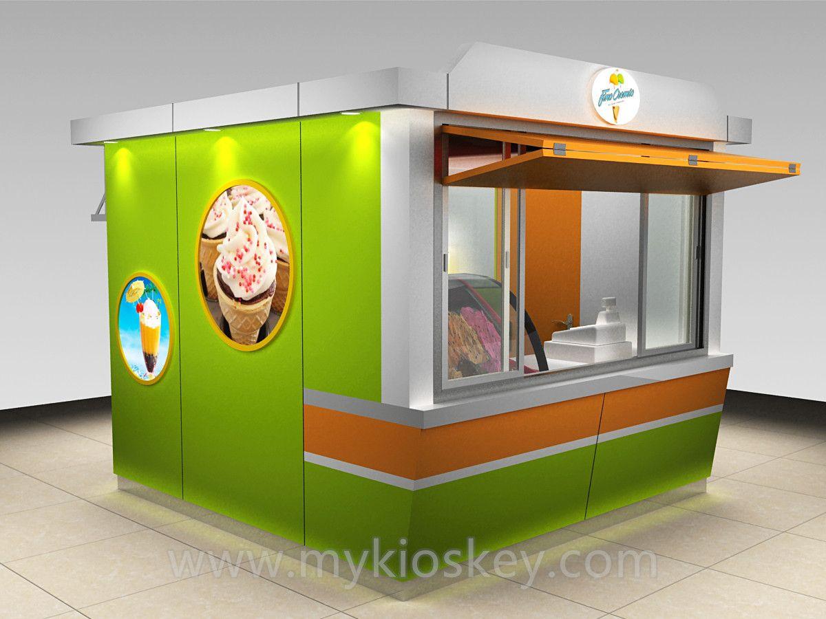 3m by 3m ice cream kiosk / juice kiosk / fast food kiosk design for