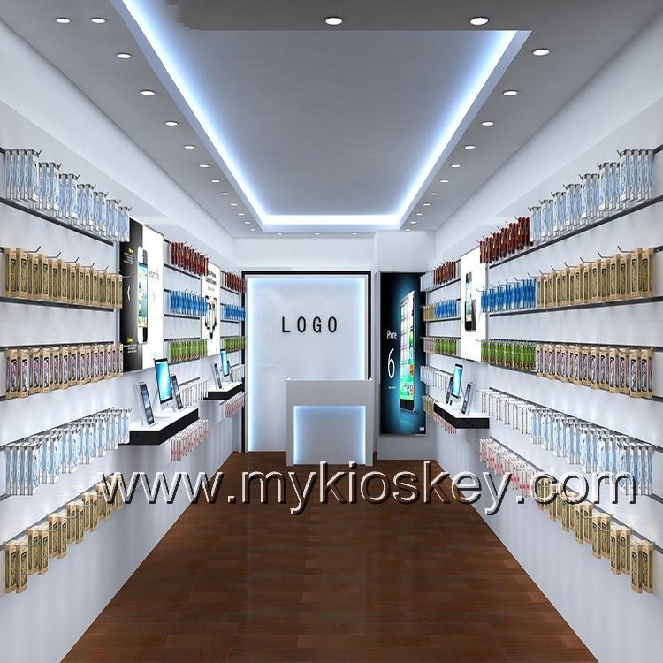 Elegance White Mobile Phone Shop Furnituredecoration Design For Shopping Mall Mall Kiosk