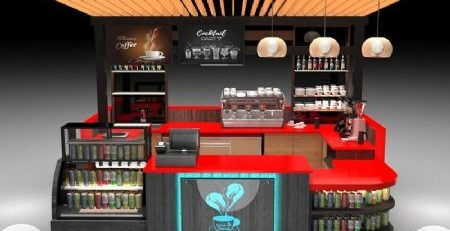 new finished high-end coffee bar kiosk beverage display kiosk for USA