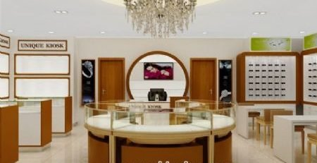 share a high end modern jewelry shop interior design with you