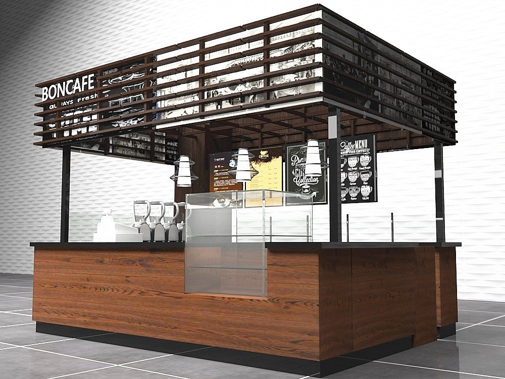 Customize various unique cafe store, coffee shop counter and cabinet for sale - Mall Kiosk